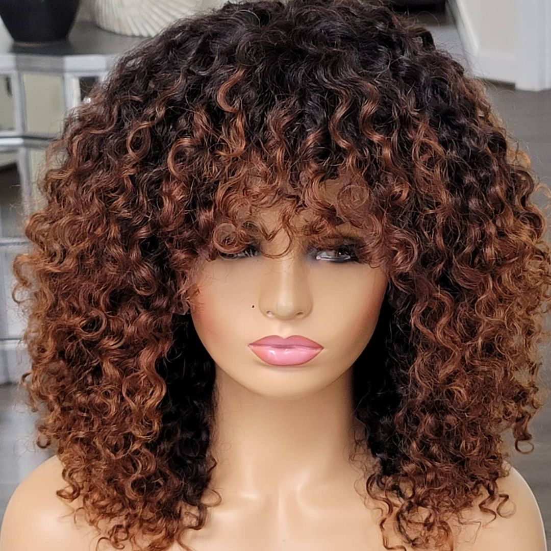 Ombre Honey Blonde Full Machine Wigs With Bangs 1B27 180 Density Jerry Curly Brown Human Hair Machin