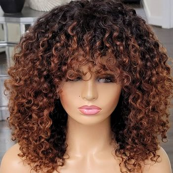 Ombre Honey Blonde Full Machine Wigs With Bangs 1B27 180Denity Jerry Curly Human Hair Wigs For Black Women
