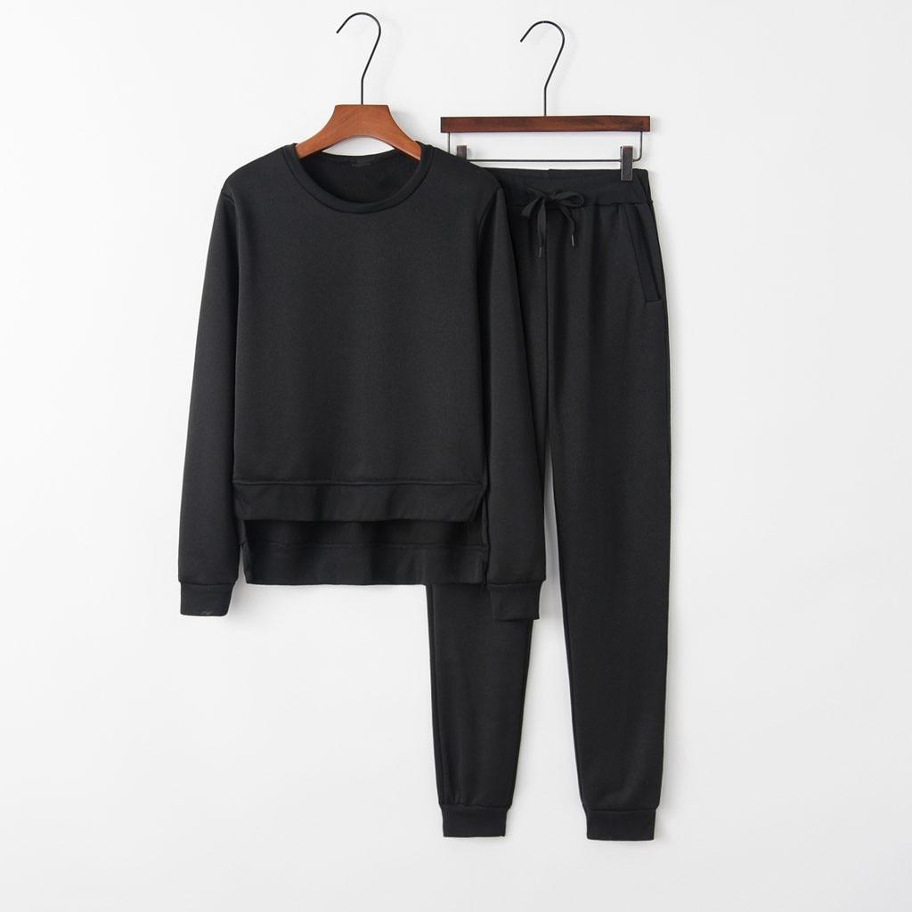 2 piece set womens tracksuit winter sports suits Women Casual Sport Sweatshirt Trousers Set Two-Piece Suit Crop Tops + Pants#3