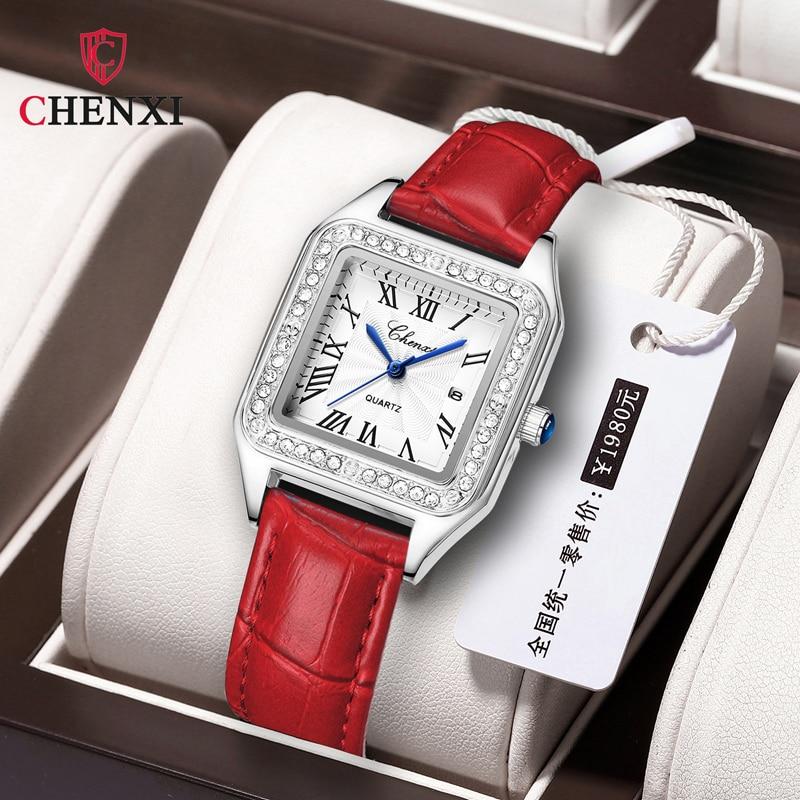 CHENXI Women Watches Top Brand Luxury Square Diamond Watch Genuine Leather Waterproof Silver Bracelet Clock Zegarek Damski