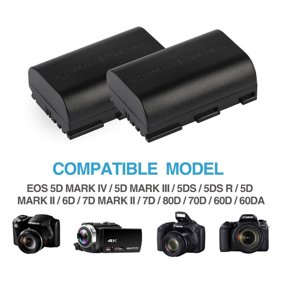 Lp E6 Lpe6 Battery For Canon Eos 5ds 5d 6d 7d 60d 60da 70d Mark Ii Mark Iii 80d Xc10 Dslr Eos 2200mah Bateria E6 Aliexpress