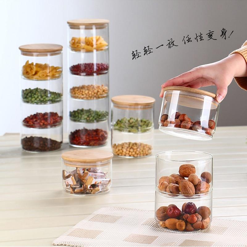 جديد 1200 مللي 3-طبقة الزجاج يمكن المطبخ الغذاء الحاويات الأكبر مجموعة ل التوابل الجافة الفاكهة خزان سلطة عاء مربع