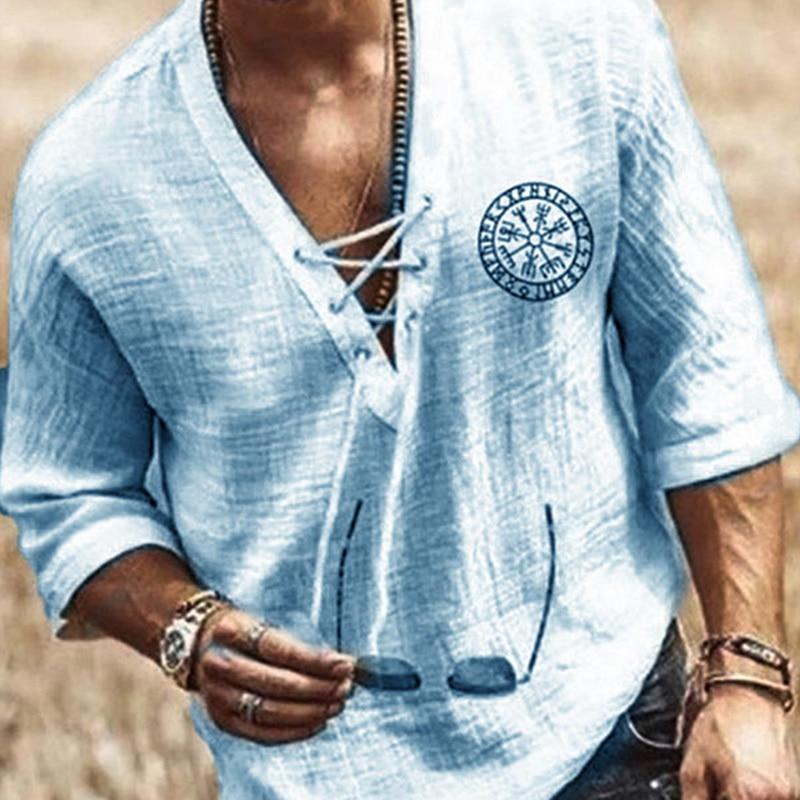 SHUJIN New Mens Spring Summer Casual Shirt Short Sleeve Cotton Linen Shirts Men Loose Collar Button Shirt silk Chemise Homme