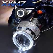 Accesorios de ajuste de foco de motocicleta lentes de Faro de proyector lente de bi-xenón 2,0 Ojos de Ángel Kit completo de retroadaptación de luces de bicicleta