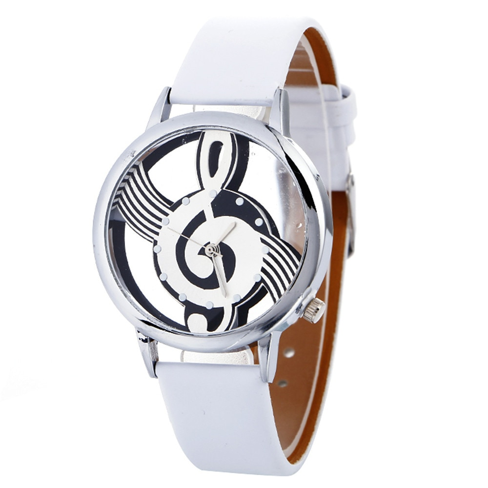 Фото - Women Hollow Music Note Notation Watch Fashion Luxury Ladies White Leather Band Quartz Watches Casual Gift Accessories Montre woman quartz analog hollow musical note style leather fashion ladies casual watch female