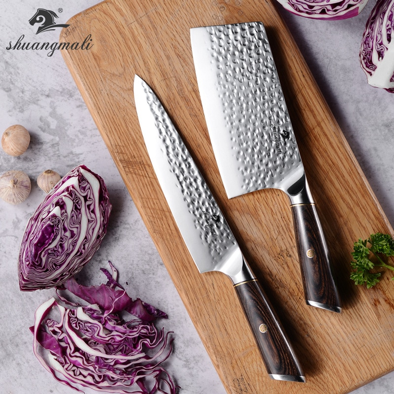 Knife Butterfly Knife Kitchen Knive Two Piece Kitchen Color Wooden Handle Hammer Pattern 7 Inch Slicing Knife 8 Inch Chef Knife