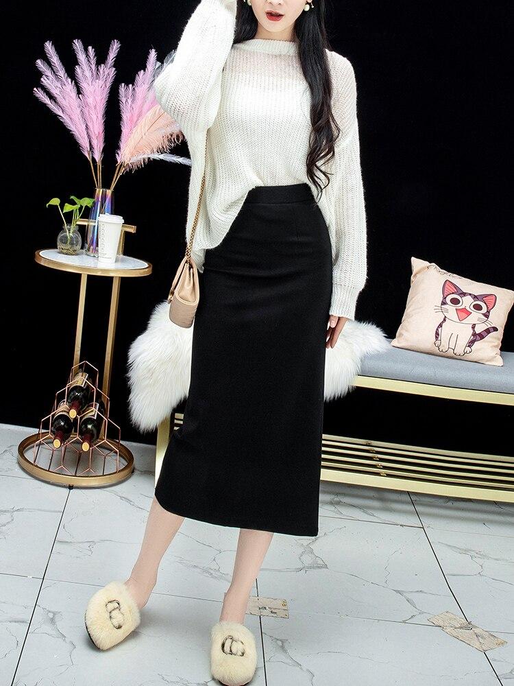 Женская Повседневная двухслойная хлопковая облегающая юбка, элегантная уличная одежда с высокой талией, облегающая юбка миди, повседневна...