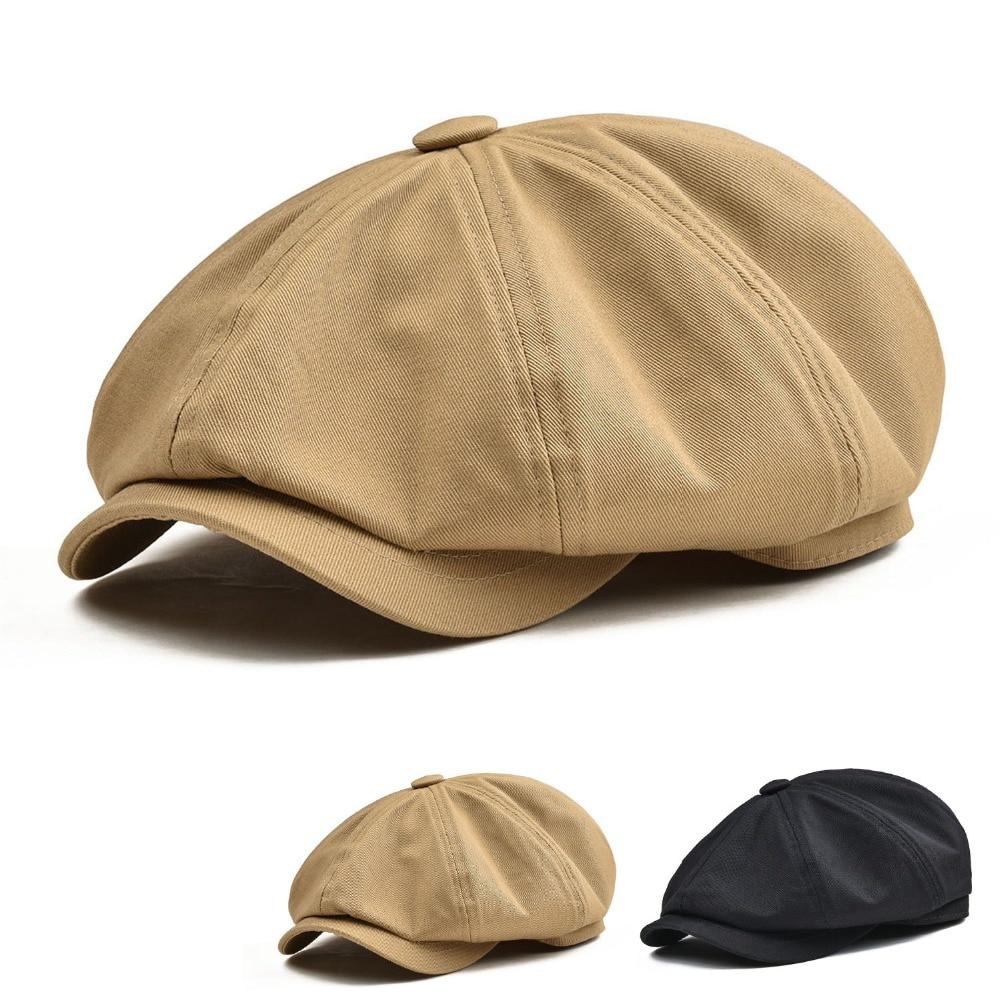 Newsboy Cap Men's Twill Cotton Eight Panel Hat Women's Baker Boy Caps Retro Big Large Hats Male Boina Black Beret 003  - buy with discount