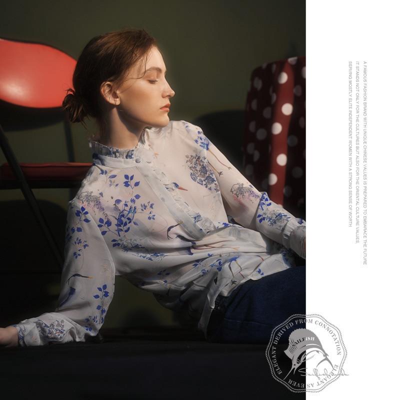 Blusas de seda para mujer, camisetas de alta calidad con estampado blanco y azul floral de talla grande, ropa de oficina informal sexy, envío gratuito de verano 2020