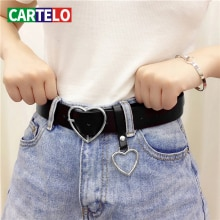 CARTELO Genuine leather ladies high quality alloy love pin buckle fashion retro belt dress jeans dec