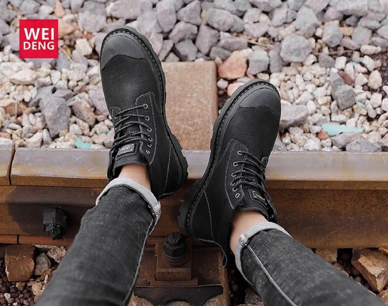 WeiDeng botas de tobillo de invierno de cuero genuino para hombre Botas de nieve al aire libre Casual estilo británico zapatos de ocio Vestido corto de felpa con cordones