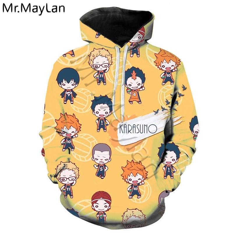 Sudadera con capucha de Anime Haikyuu impresa en 3D, abrigo informal de gran tamaño para hombres y mujeres, ropa informal japonesa, jersey de bola de voleibol, Tops, sudadera de Anime-2