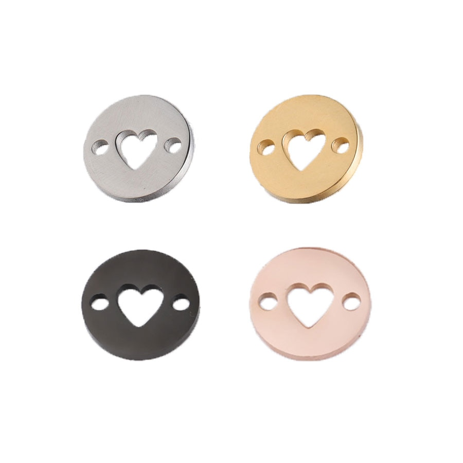 Круглые Подвески в форме сердца 5 шт./лот 10 мм, подвески из нержавеющей стали с зеркальной полировкой для изготовления ожерелья «сделай сам», плетеные браслеты, ювелирные изделия