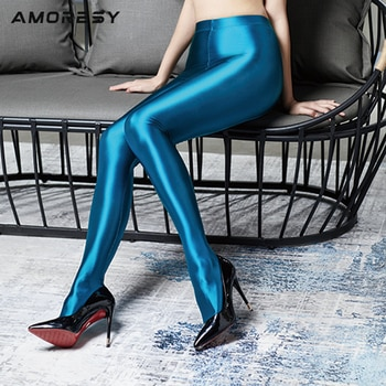 AMORESY free shipping Women Satin GLOSSY OPAQUE Shiny Wet Look Tights  Yoga Pants Leggings  Sexy Stockings Fitness Sports
