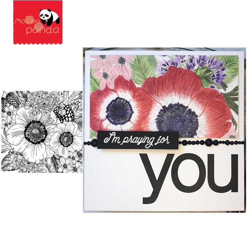 Troqueles de corte de Metal Anemone & Alium y sellos para álbum de recortes/álbum de fotos decorativo en relieve, plantilla artesanal