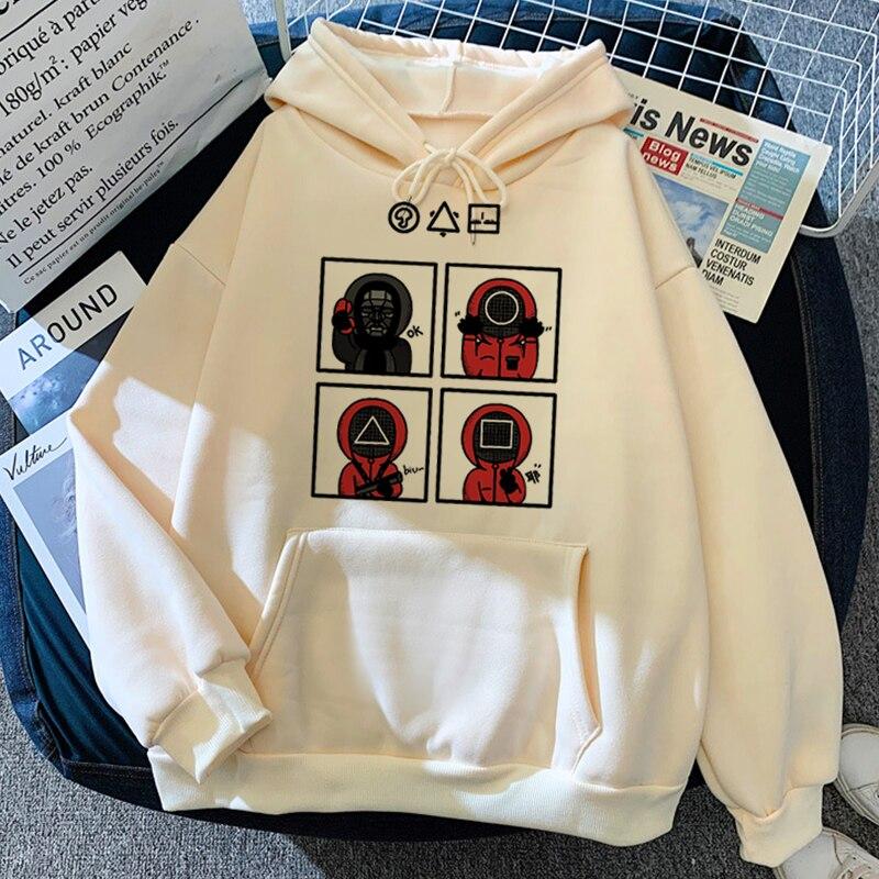 Милые толстовки из игры кальмар 456, забавная аниме одежда, костюм игры кальмар 067, эстетичные корейские женские толстовки, толстовка с круглы...