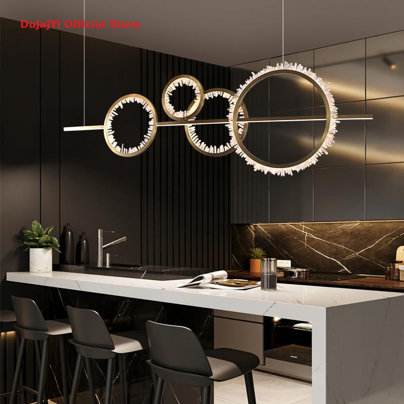 Nordic Light Luxury LED Restaurant Crystal Chandelier Modern Living Room Lamp Minimalist Bar Taichung Island Chandelier Lighting