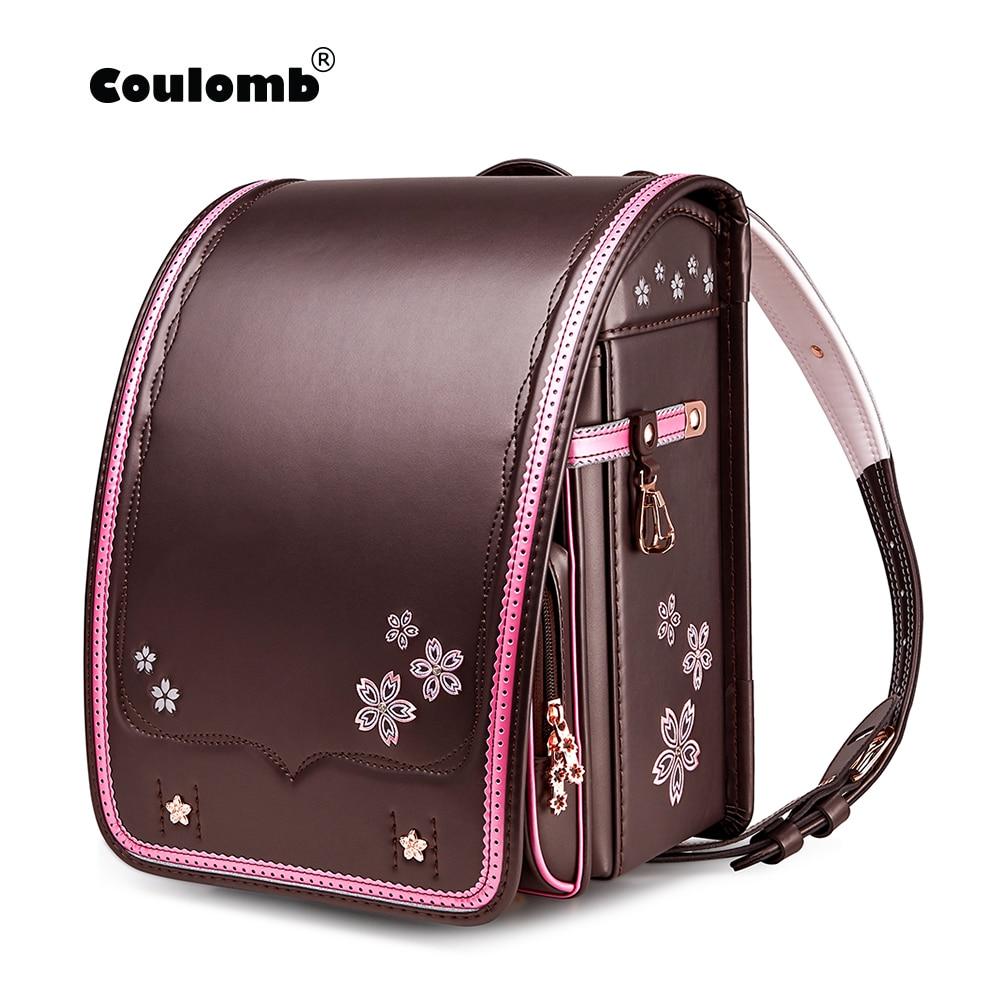 New Design Coulomb Children School Bag Girls Kid Orthopedic Sakura Embroidery Backpack Children Bookbags Randoseru Bags рюкзак