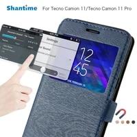 pu leather phone case for tecno camon 11 flip case for tecno camon 11 pro view window book case soft tpu silicone back cover