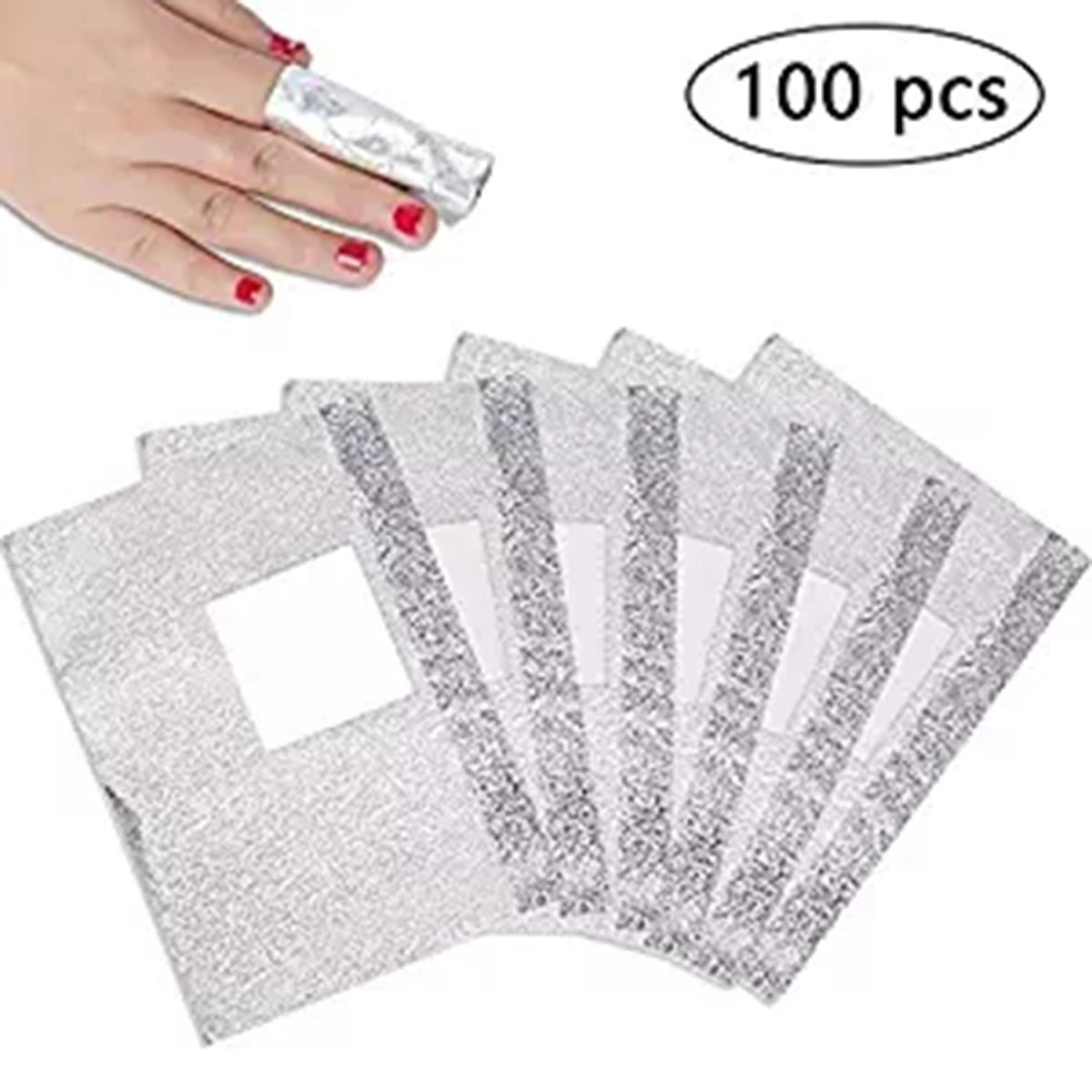 100 Uds. Envolturas de eliminación de papel de aluminio resistentes, láminas de Soak Off con almohadilla de algodón plateada para esmalte de uñas en Gel, herramientas cosméticas de maquillaje