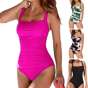 Women One-Piece Tummy Control Swimsuit Ruched Front Solid Color Vintage SwimwearM68D