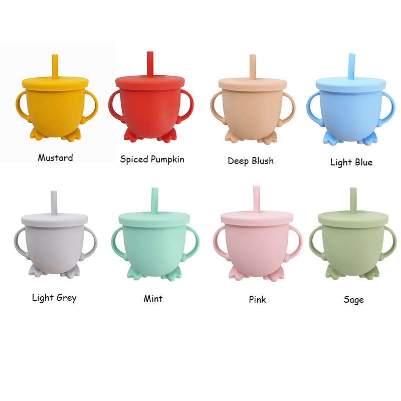 Chenkai 1PC Feeding Snack Straw Baby Cups Food Grade Silicone Drop-Proof Infant Learn Drink Cup Two Handle Grasp 8 Color