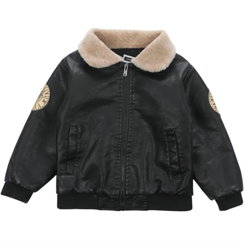 Boy's leather jacket coat spring, autumn and winter Korean style children's fleece-lined baby boy leather jacket enlarge