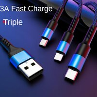 Быстрая зарядка 3 А, один с тремя кабелями для передачи данных, подходит для кабеля передачи данных Apple TYPE-C Android, многофункциональная зарядка ...