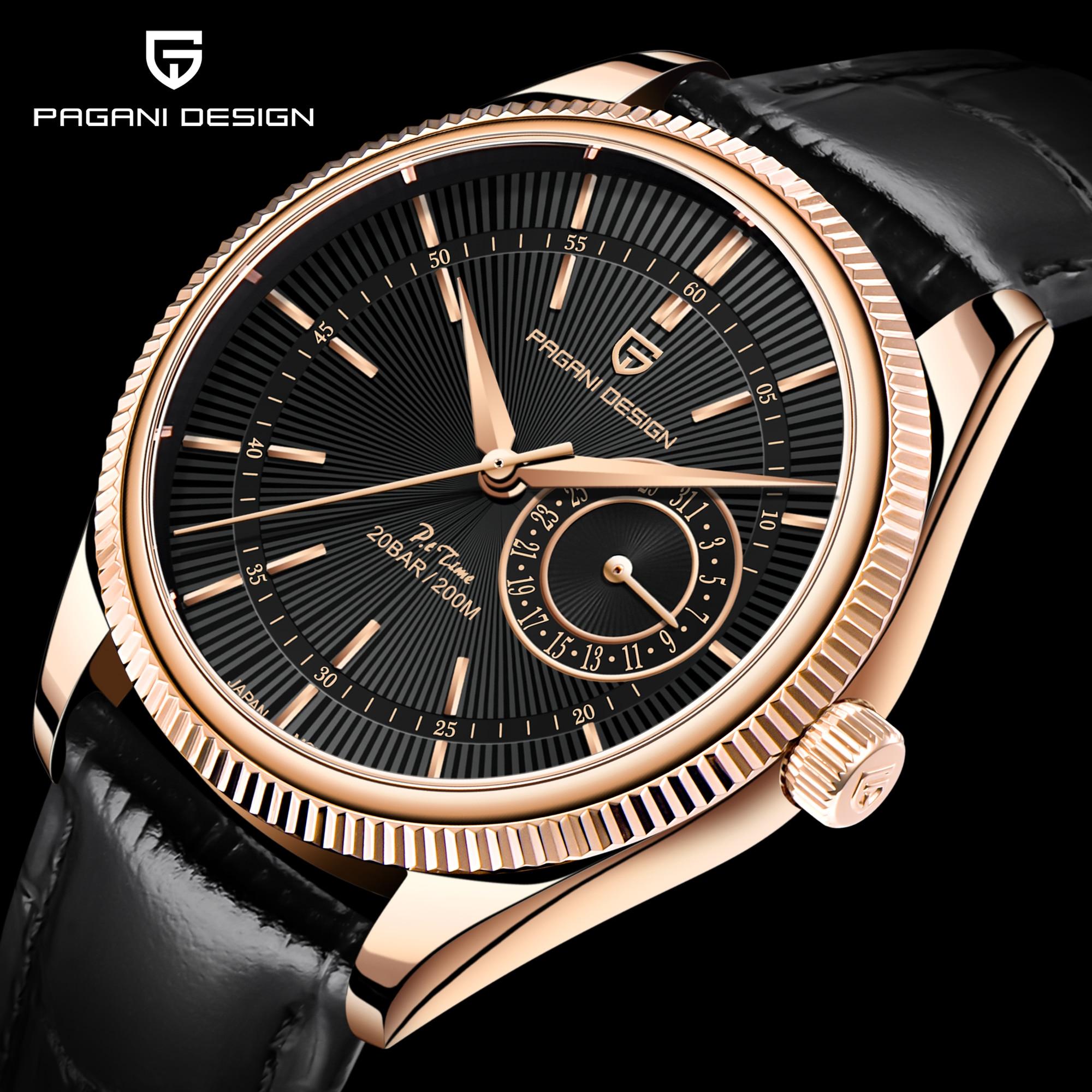 Pagani Design 2021 New Men Quartz Watch Top Brand Watches 200m Automatic Waterproof Clock Luxury Leather Watch Relogio Masculino