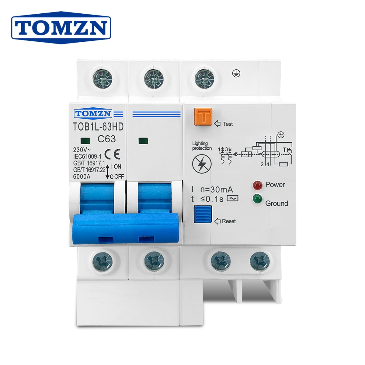 Residual current circuit breaker Main switch with surge protector RCBO MCB with Lightning protection SPD