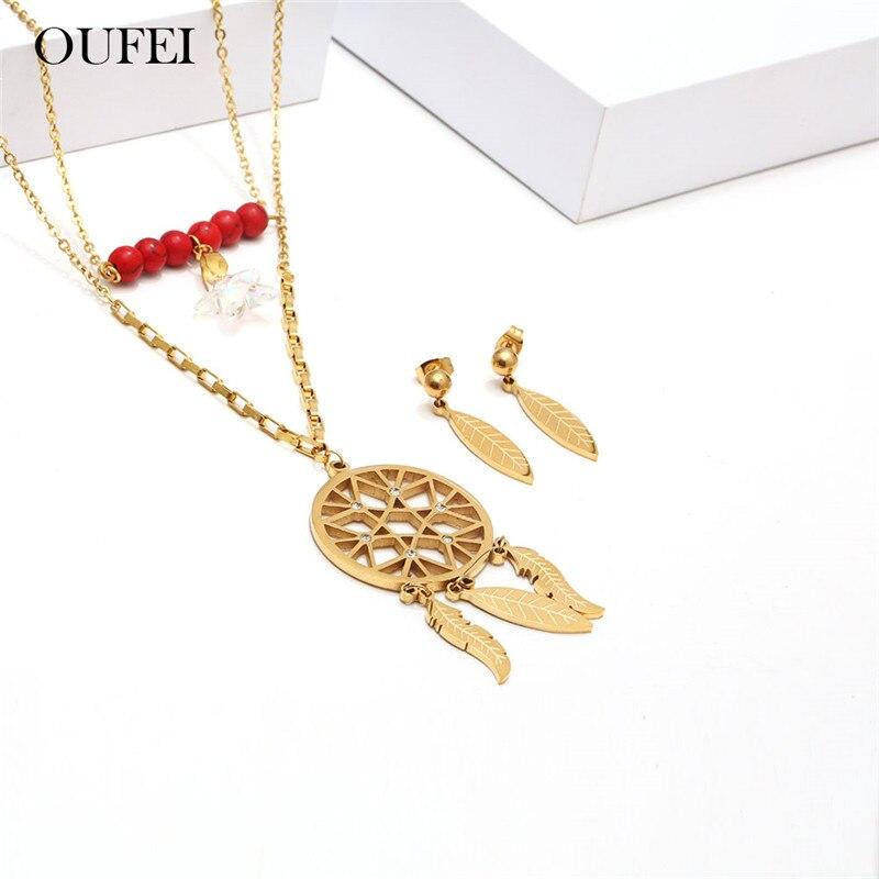 XUANHUA, conjuntos de joyería de acero inoxidable, conjunto de collar y pendientes, accesorios de mujer, joyería de moda, Envío Gratis
