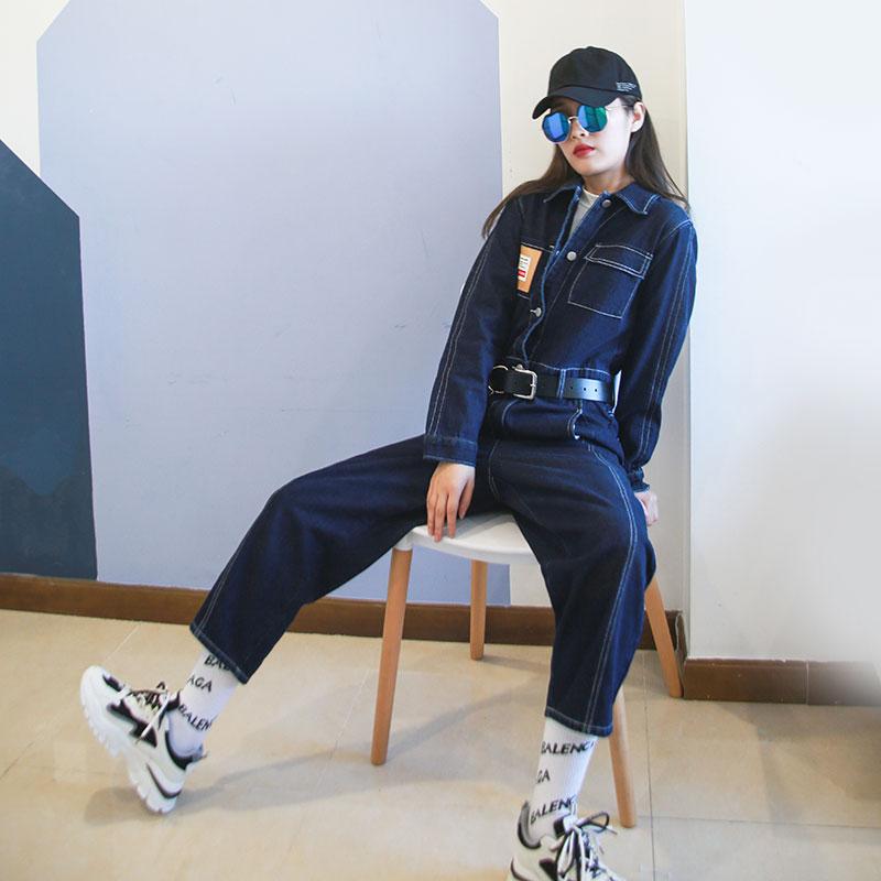 Autumn/winter new short label loose denim jumpsuit for women with decorative thread belt jumpsuit