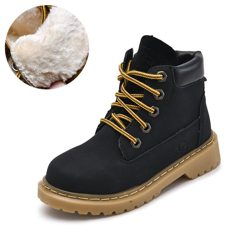 Botas Martin para niños, botines clásicos, impermeables, de cuero para niños, botas gruesas cálidas, botas de invierno antideslizantes para niños, zapatos informales para exteriores