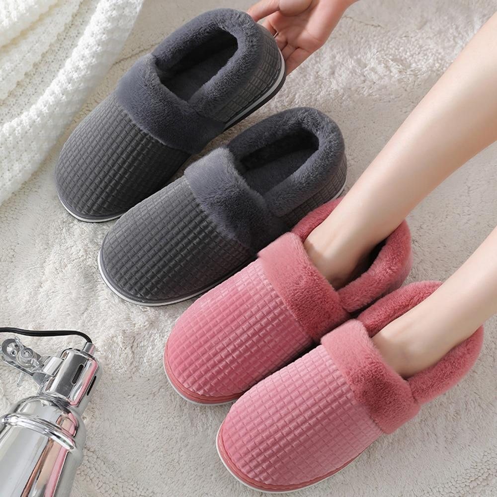 2021 Winter men's slippers Soft short plush comfort House slippers silp on cotton platform Mens slippers outdoor