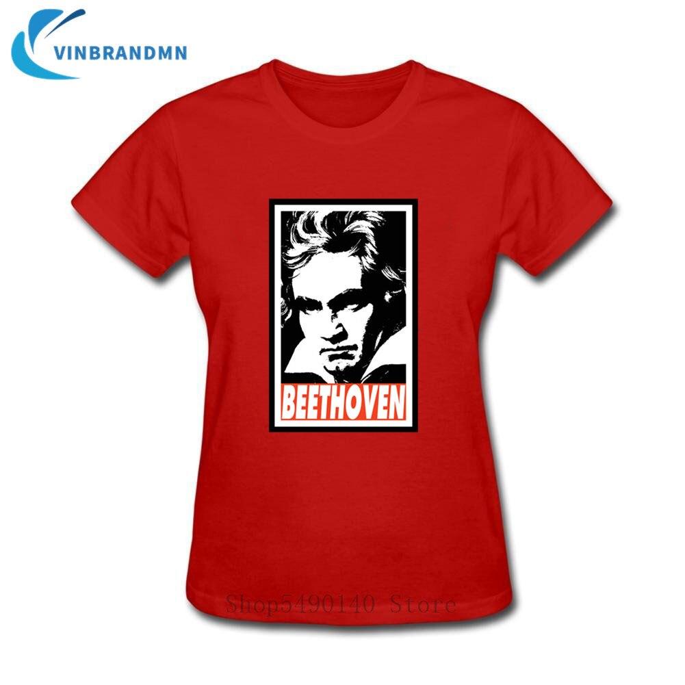 Camiseta de algodón de manga corta de Ludwig Van beetken para mujer,...