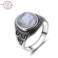 men and women 925 sterling silverjewelry ring oval 1014mm natural moonstone ring bohemian style engagement wedding party