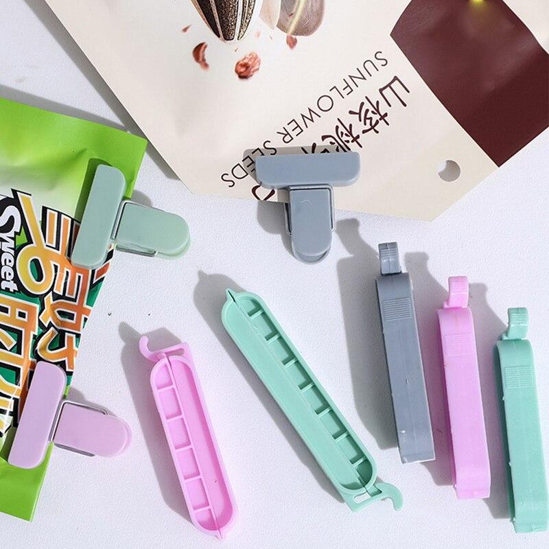 12 unids/set de bolsas de plástico, máquina de sellado de aperitivos snack bolsas accesorios de herramientas de cocina mini vacío clip para sellado de alimentos clip