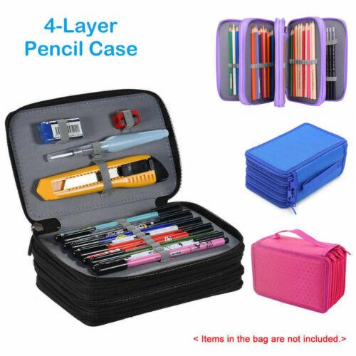 4 compartimentos de alta capacidad caja de pluma estacionaria bolsa de almacenamiento de maquillaje bolsa de lápiz