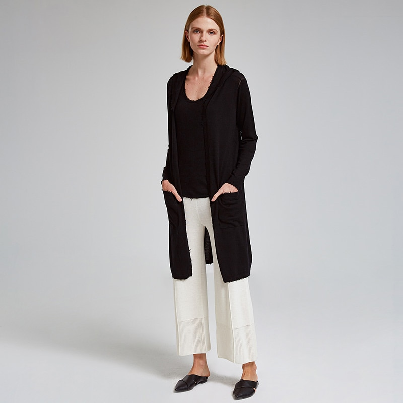 Long Cardigan  With cap  Coat Women's  Thin Coats 100%   Wool  Sweater  Solid Color Soft Breathable  No Buttons Cardigan enlarge