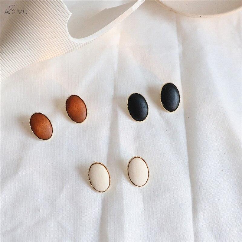 AOMU nuevo Corea Vintage 2019 personalidad madera ovalada geométrica Metal encaje Pendientes para mujer Regalos joyería Pendientes