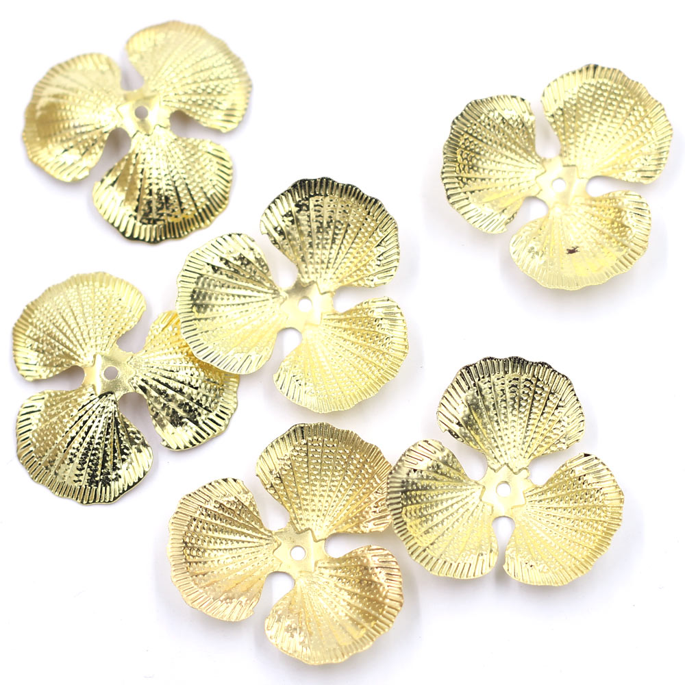 100Pcs Embellishment Connector Flower Torus Wraps Round Hollow Gold Plated Charm Alloy Jewelry DIY Finding 42mm