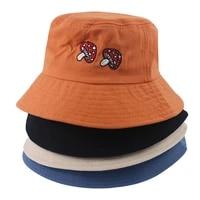 unisex embroidered mushroom foldable panama bucket hat beach sun hat street headwear fisherman outdoor cap man and woman hat