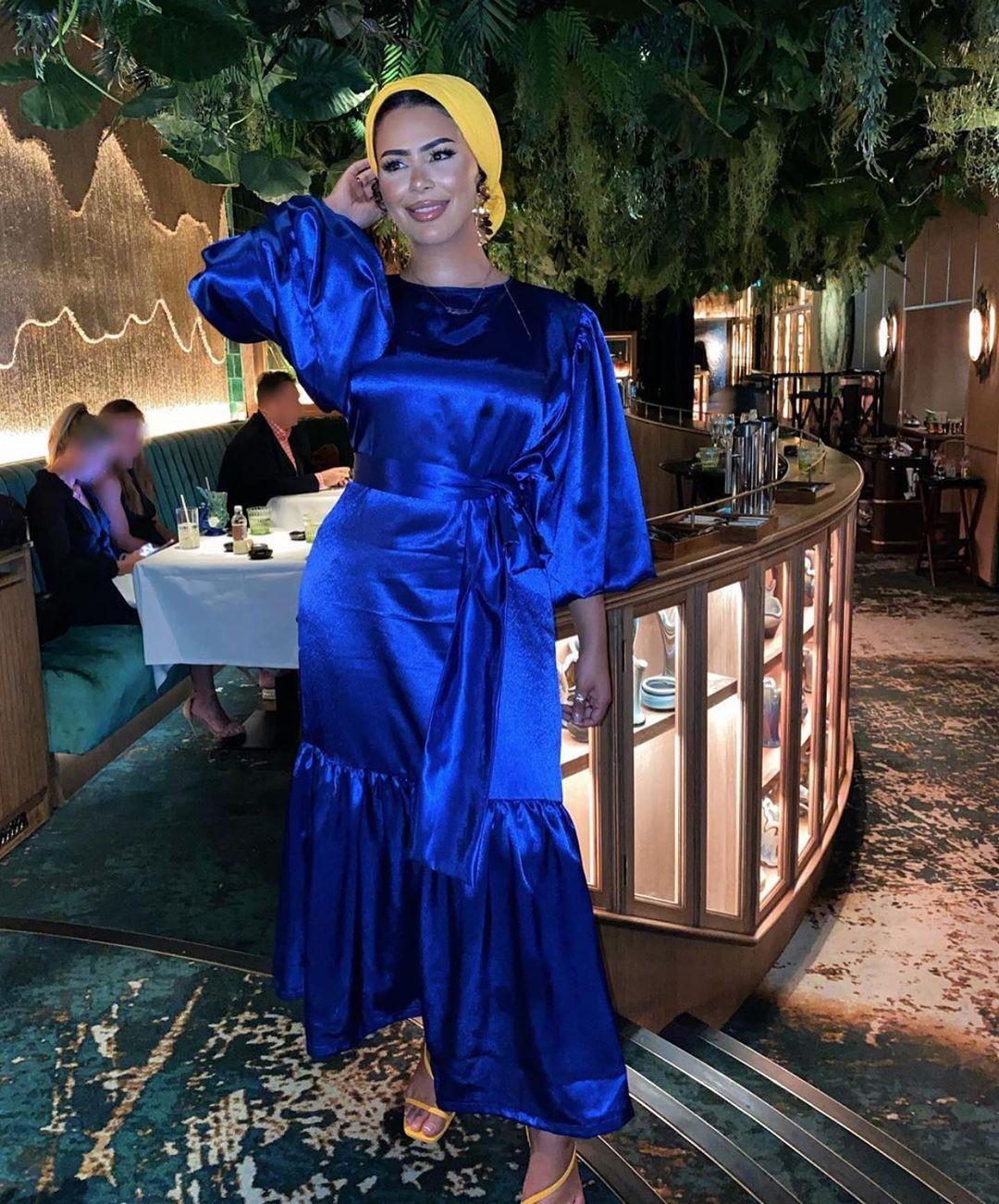 Vestido Ramadán Eid Mubarak, Kimono musulmán de seda satinada, Abaya, manga abombada,...