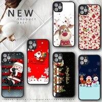 christmas deer santa claus lanscape phone case matte transparent for iphone 7 8 11 12 plus mini x xs xr pro max cover