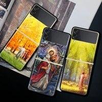 case for samsung galaxy z flip 3 black hard phone cover z flip3 5g shockproof bumper zflip 3 shell fundas christianity god jesus