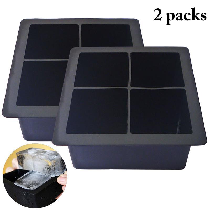 2PCS Ice Cube Mold Creative styling Silicone Black Big Giant Jumbo King Size Large Silicone Ice Cube Square Tray Mold Mould