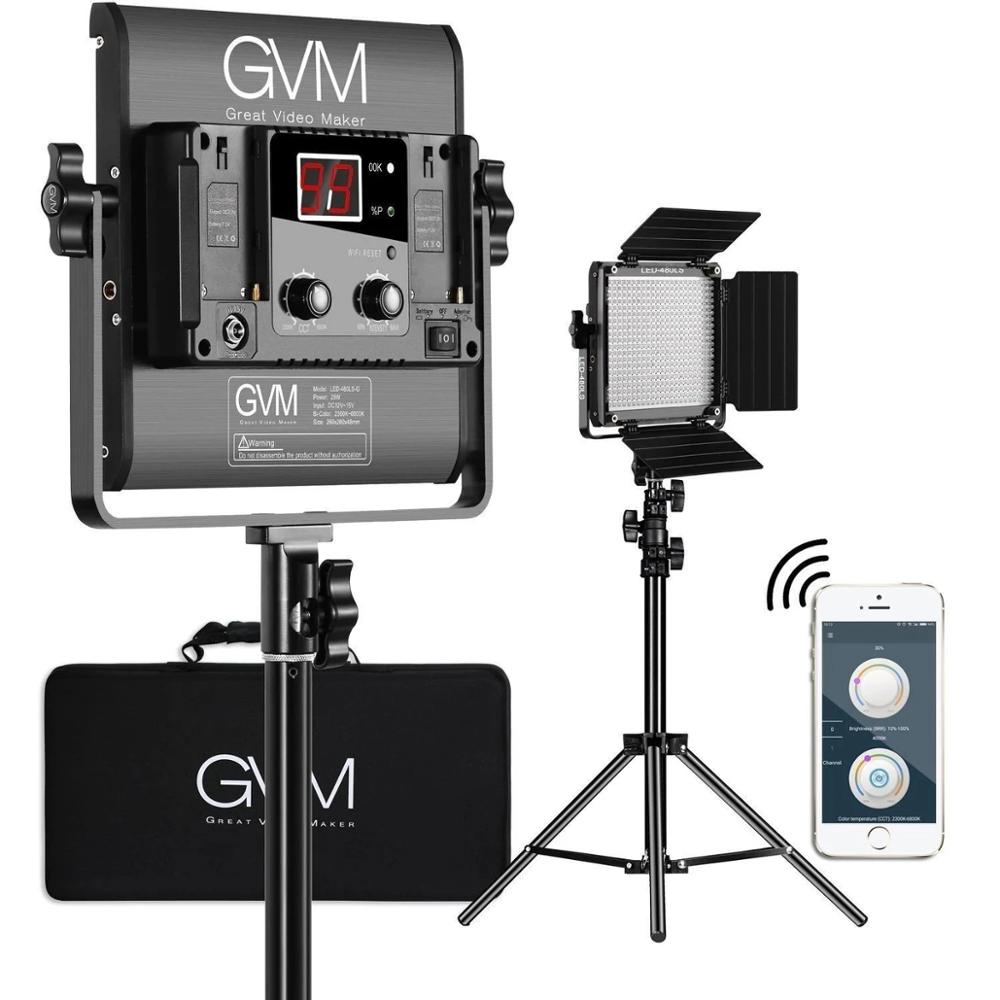 GVM Bi-Color Photography Video Studio Lighting with WiFi Remote APP Control 480 LED Light Panel Kit without Stand 480LS