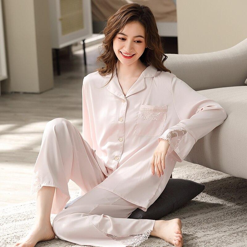 Женская семейная Весенняя белая Пижама для сна в спальню, пижама с кружевными краями, женская одежда для сна, домашняя одежда, атласная пижа...