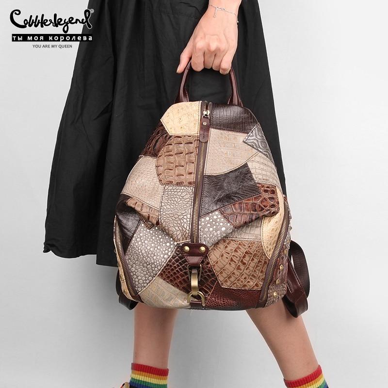 Cobbler Legend 2020 Fashion Women's Backpack Vintage Genuine Leather Female Travel Bags Casual Shoulder Bag For Student/Teenage