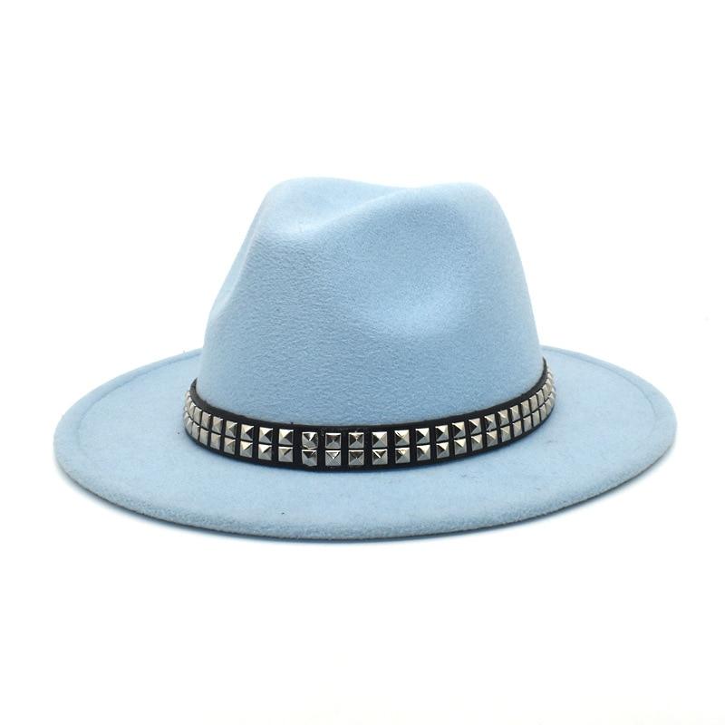 Spring Elegant Wide Brim Fedora Hat Black Belt Panama Hat Has Belt for Easy Pick Wool British Jazz f